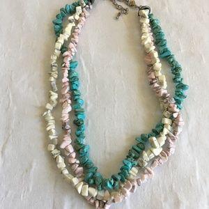 Handmade Multi strand Stone Chip Necklace